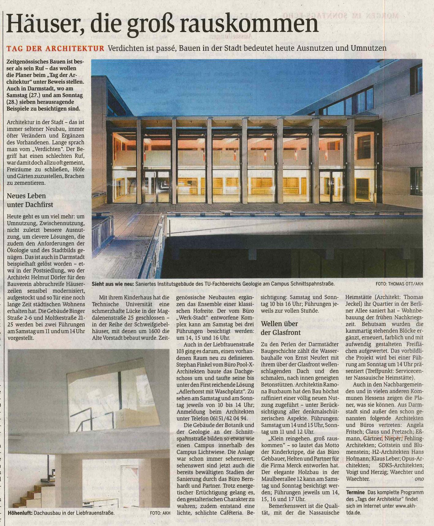 Bericht Des Darmstädter Echo Vom 26.6.2015 Anlässlich Des Tages Der  Architektur Energetische Sanierung Der Denkmalgeschützten  Ernst Neufert Halle ...